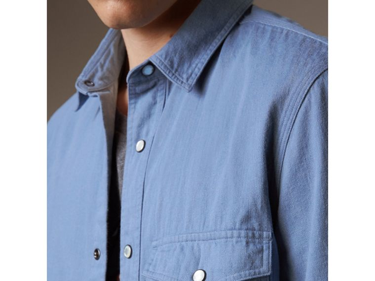 Japanese Denim Shirt in Light Blue - Men | Burberry - cell image 4