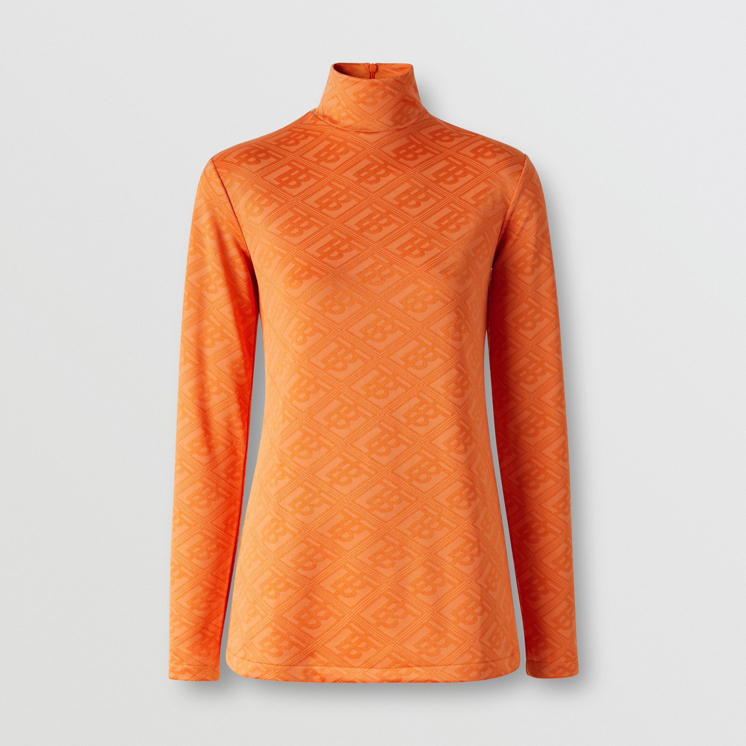 Logo Graphic Jersey Turtleneck Top in Bright Orange - Women | Burberry - 4