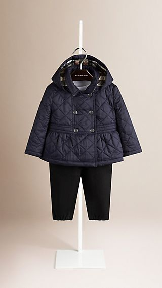 Hooded Quilted Peplum Jacket