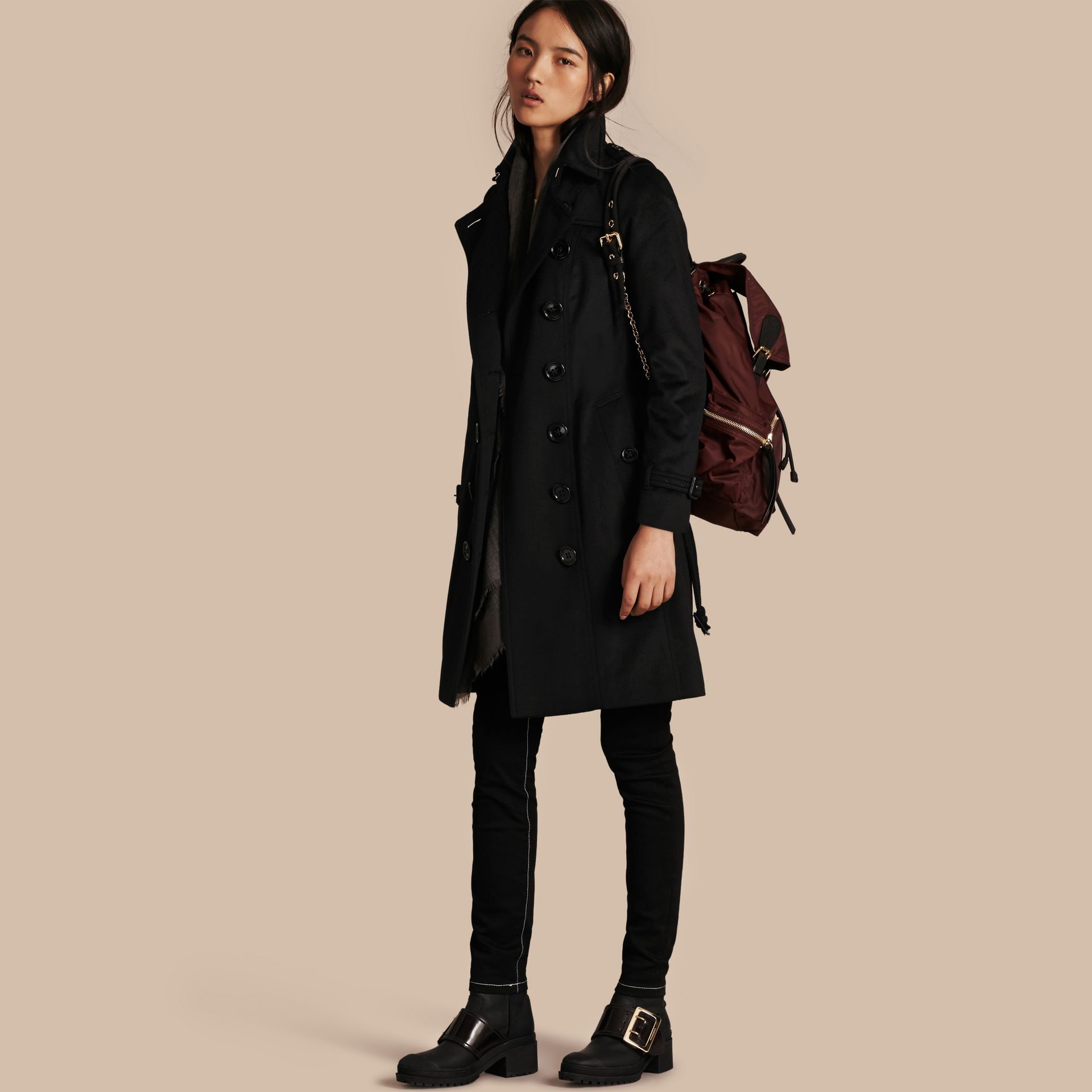 Black Sandringham Fit Cashmere Trench Coat Black - gallery image 1