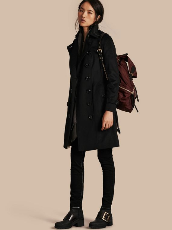 Sandringham Fit Cashmere Trench Coat Black