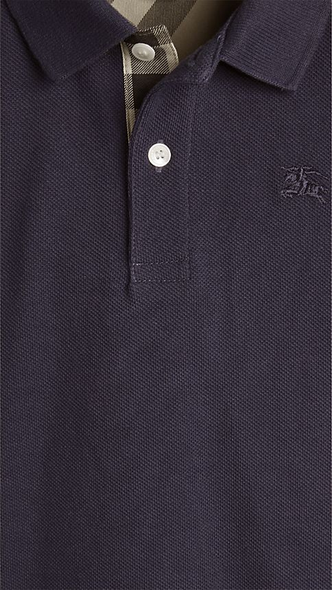 True navy Check Placket Polo Shirt - Image 3