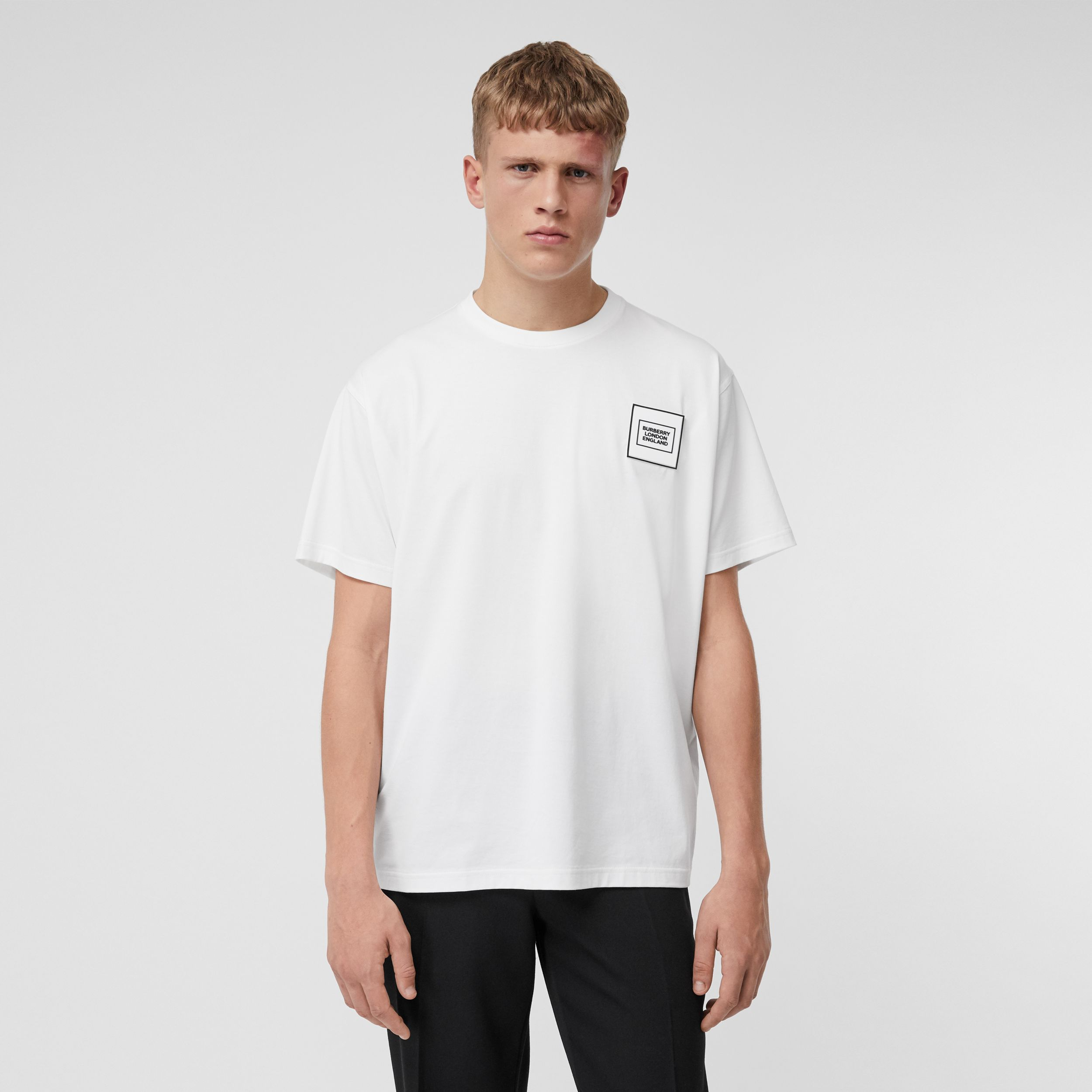 Logo Appliqué Cotton T-shirt in White - Men | Burberry - 1