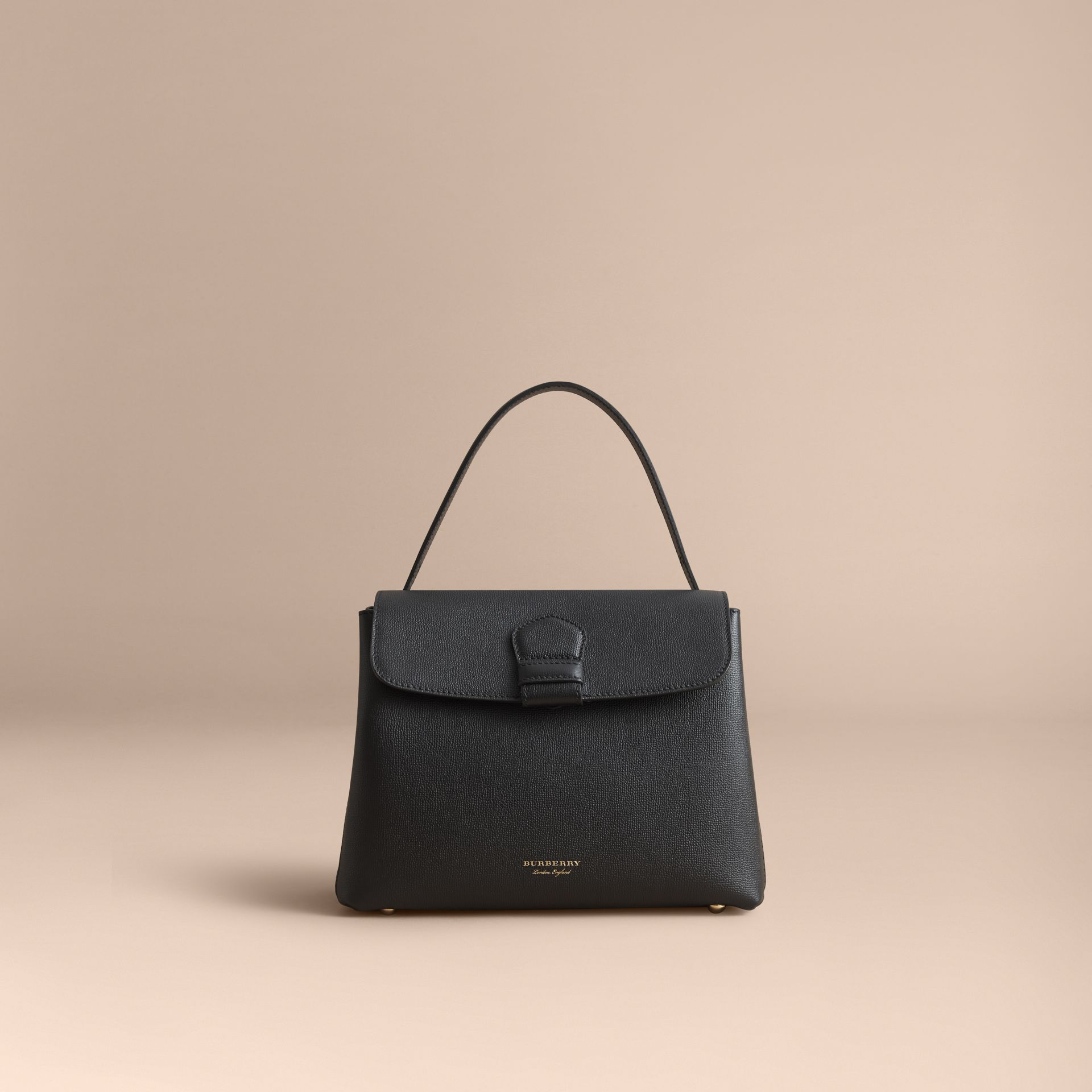 Medium Grainy Leather and House Check Tote Bag in Black - Women | Burberry - gallery image 8