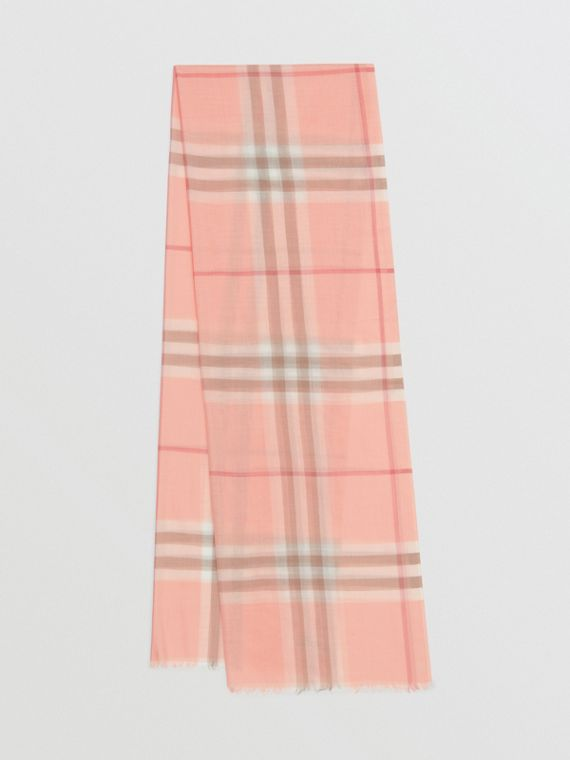 Lightweight Check Wool Silk Scarf in Pink Peach