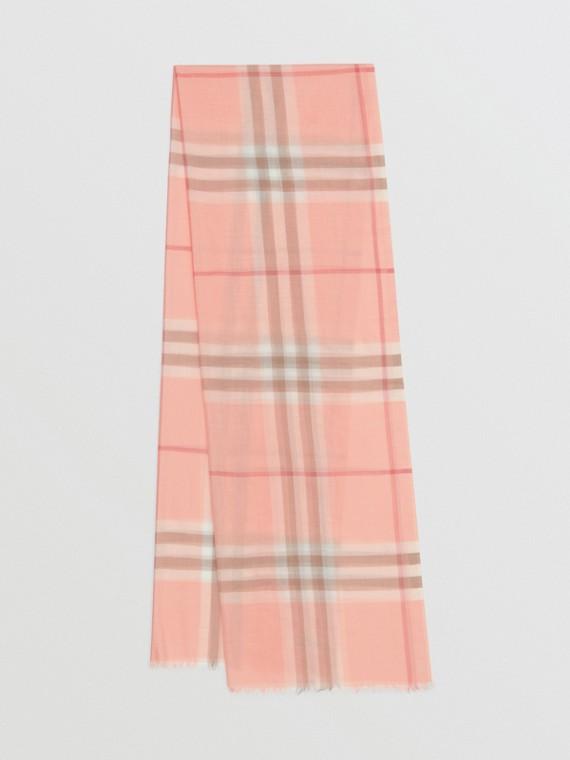 Легкий шарф из шерсти и шелка в клетку (Розовый Персик)