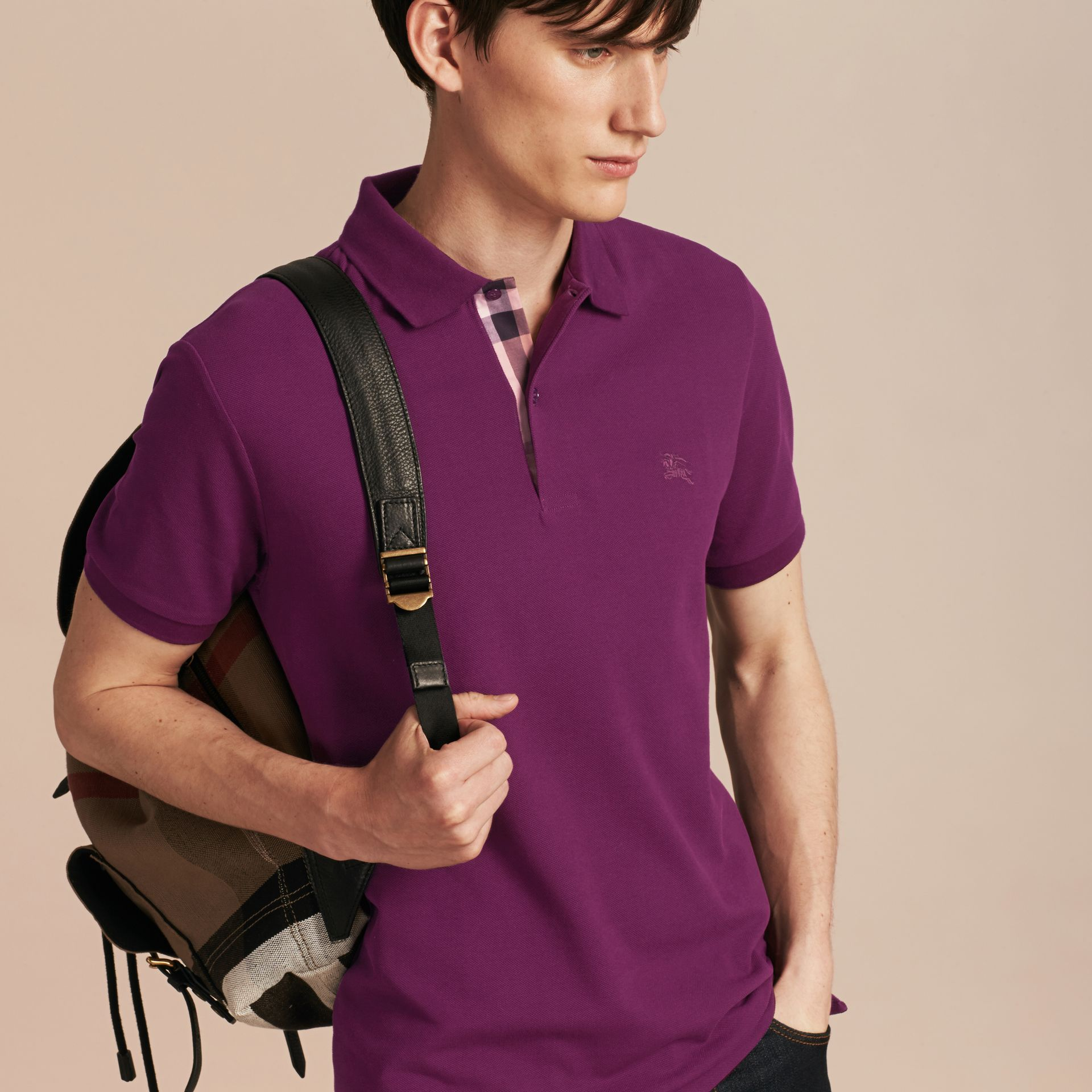 Check Placket Cotton Piqué Polo Shirt Deep Purple Amethyst - gallery image 6
