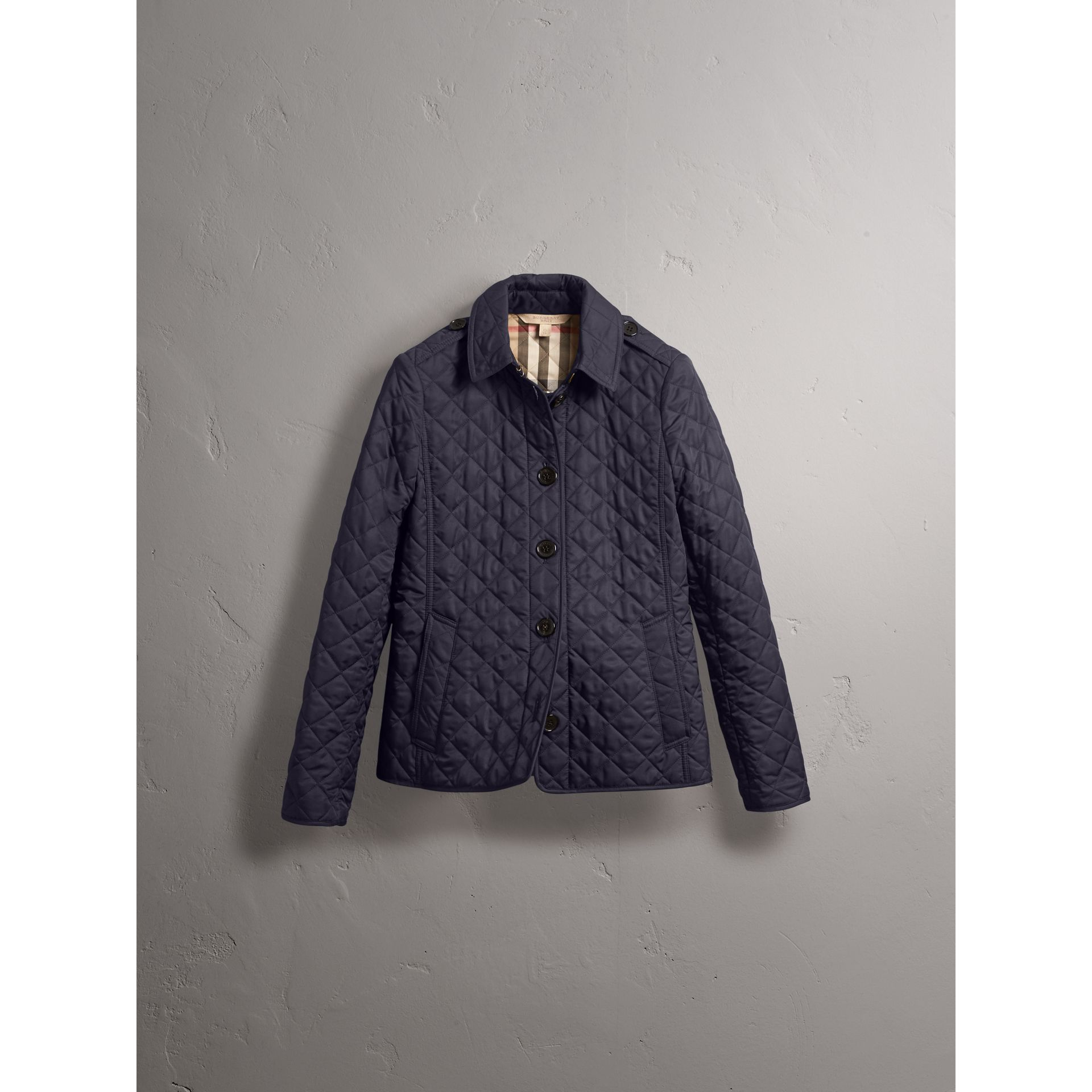 Diamond Quilted Jacket in Navy - Women | Burberry - gallery image 4