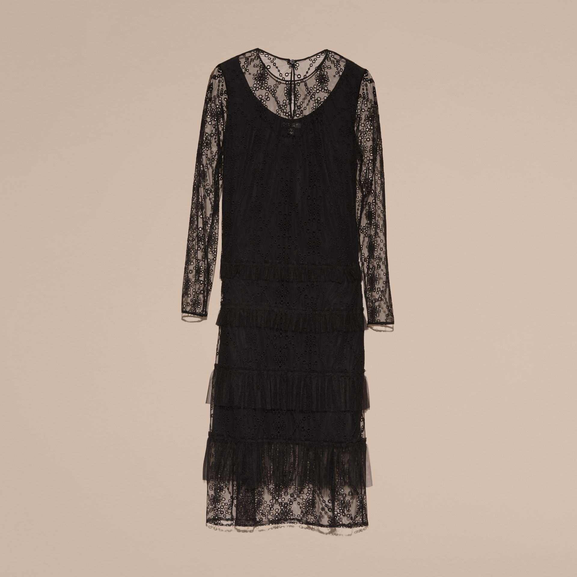 Black Embroidered Tulle Tiered Dress - gallery image 4