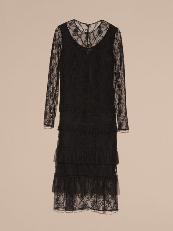 Black Embroidered Tulle Tiered Dress - cell image 3