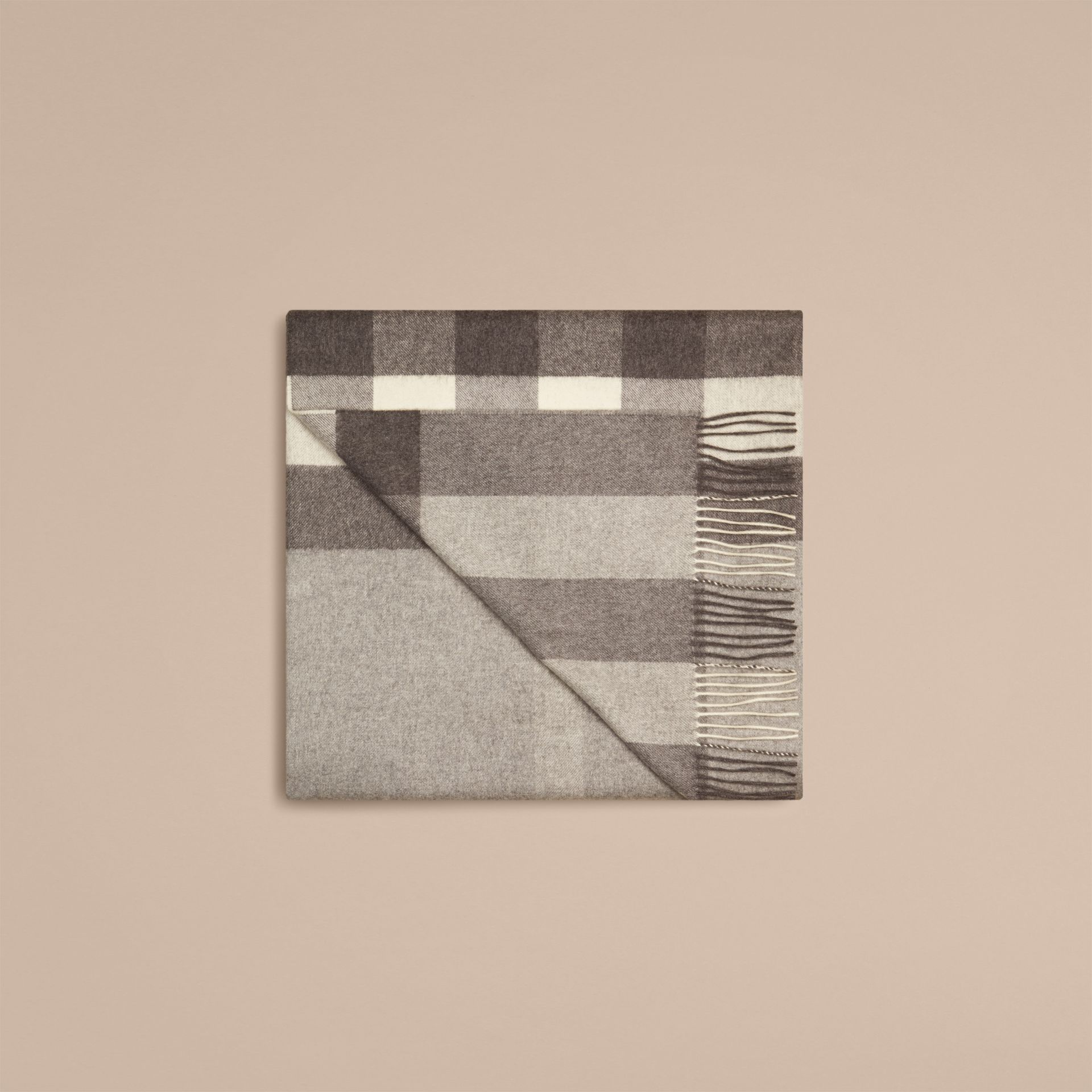 Pale grey Check Cashmere Blanket Pale Grey - gallery image 4