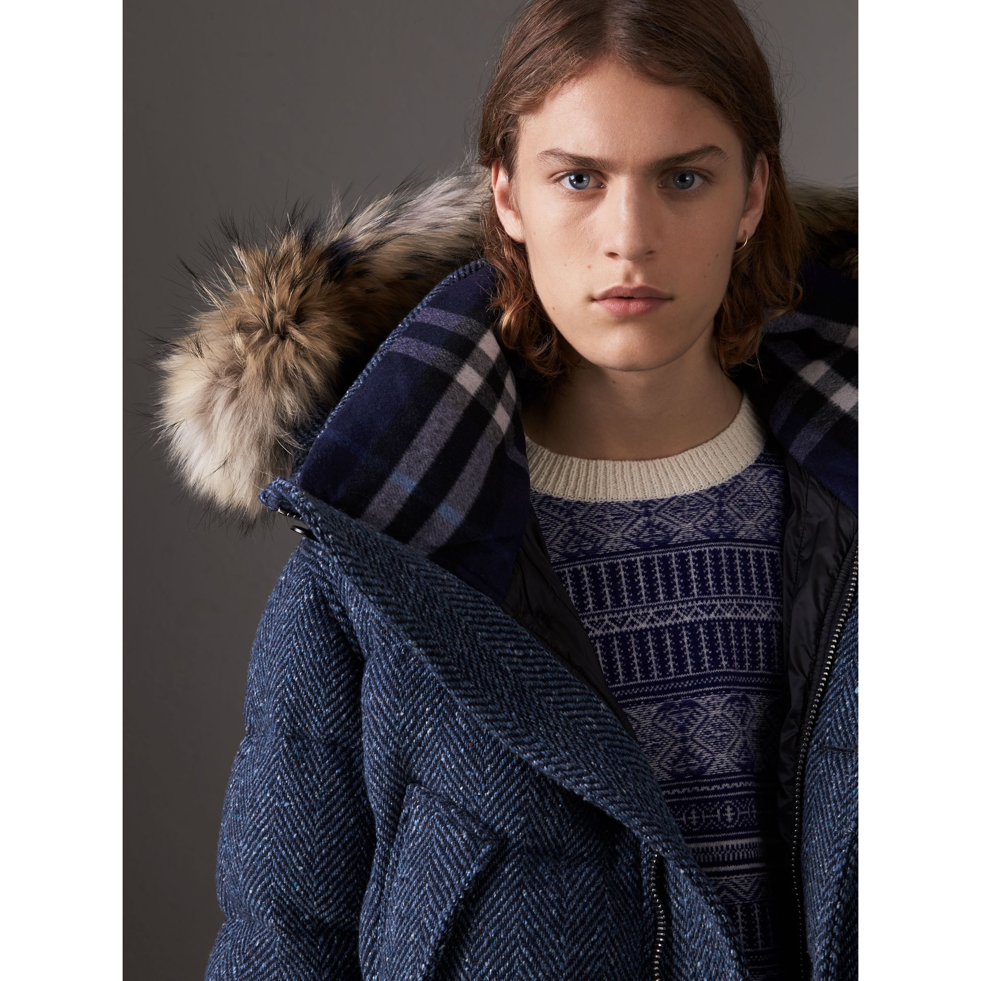 Short Detachable Fur Trim Down-filled Cashmere Parka in Dark Navy - Men | Burberry - gallery image 5