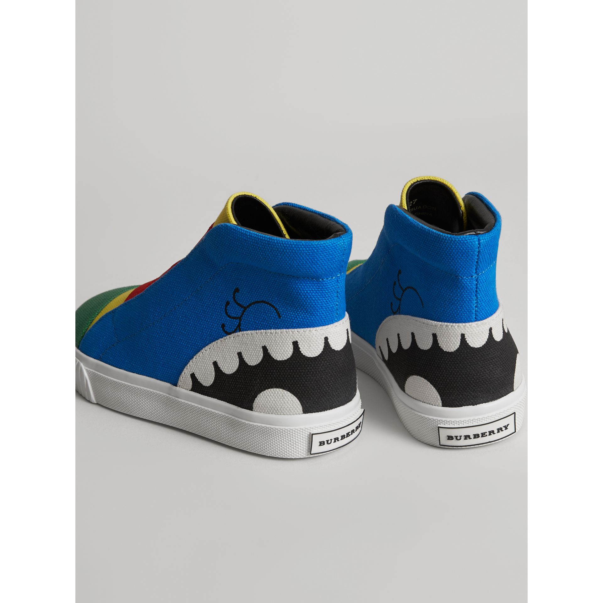 Monster Graphic High-top Sneakers in Bright Sky Blue | Burberry Australia - gallery image 2
