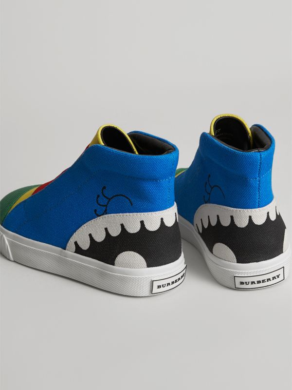 Monster Graphic High-top Sneakers in Bright Sky Blue | Burberry - cell image 2
