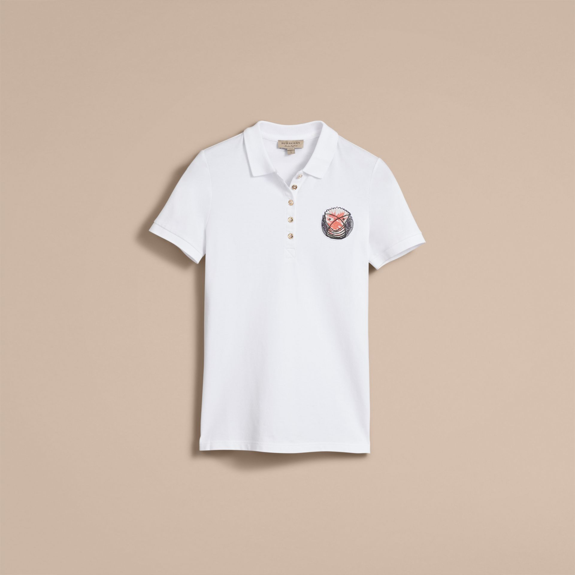 Pallas Heads Appliqué Cotton Piqué Polo Shirt White - gallery image 4