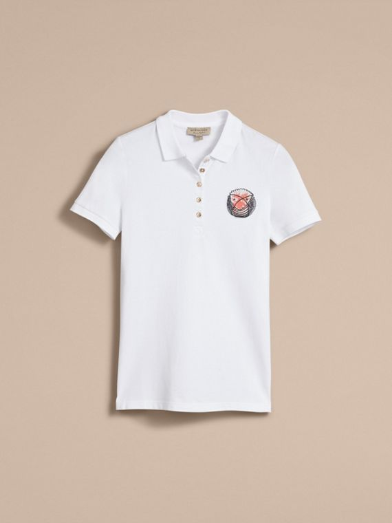 Pallas Heads Appliqué Cotton Piqué Polo Shirt White - cell image 3