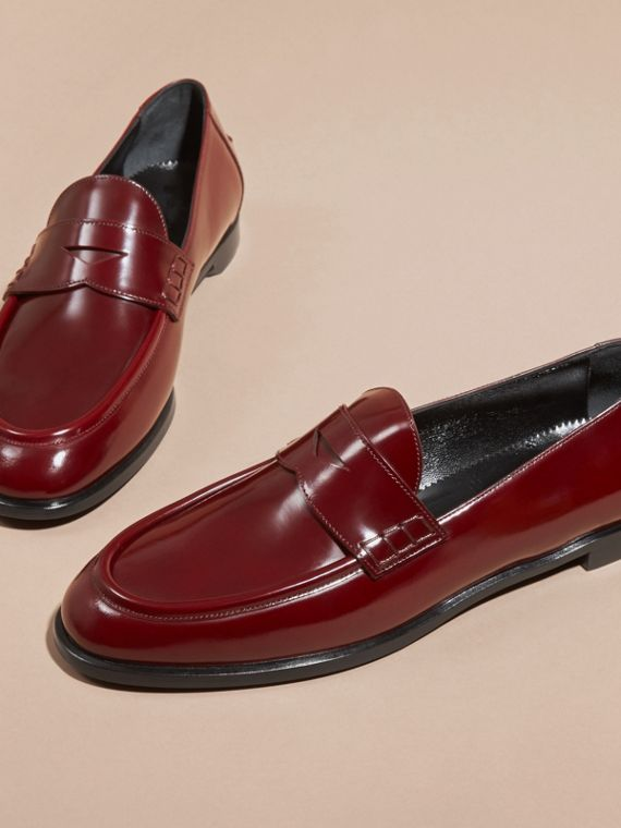 Mahogany red Polished Leather Loafers Mahogany Red - cell image 2