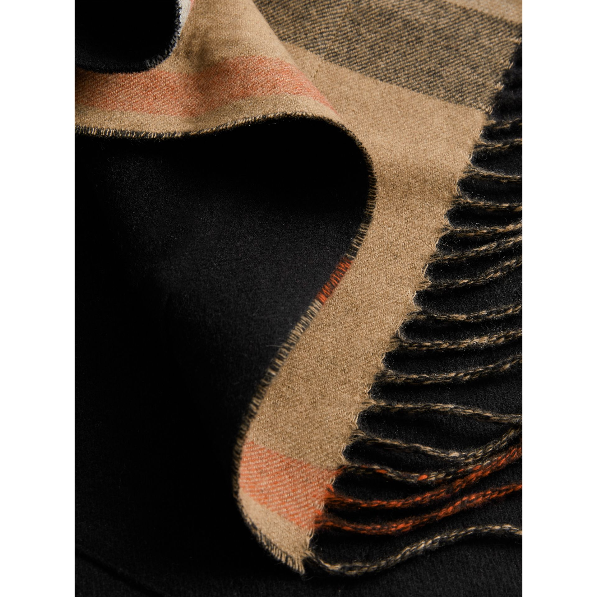 Check-lined Wool Cashmere Wrap in Black - Women | Burberry - gallery image 1