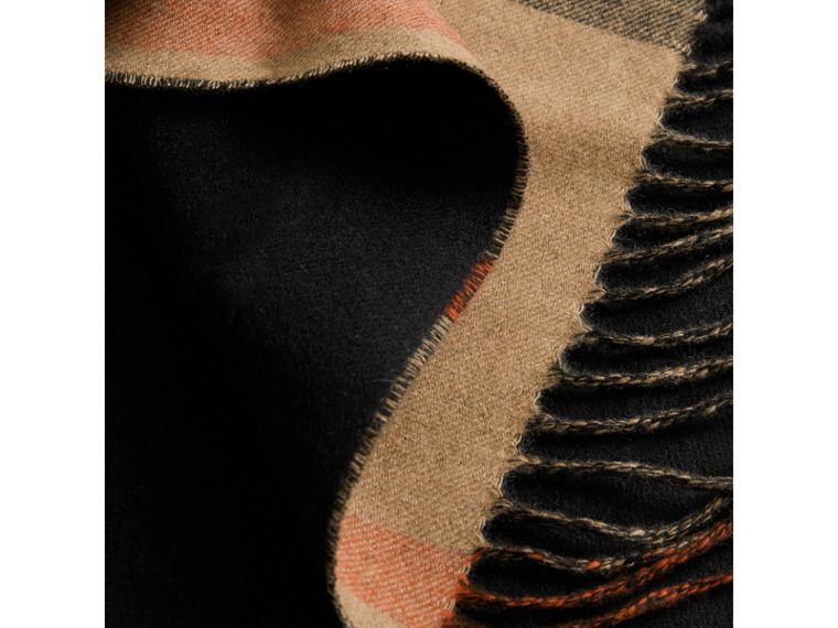 Check-lined Wool Cashmere Wrap in Black - Women | Burberry - cell image 1