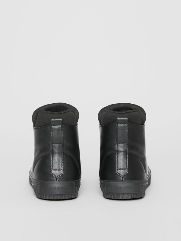 Leather and Neoprene High-top Sneakers in Black - Men | Burberry Singapore - cell image 3