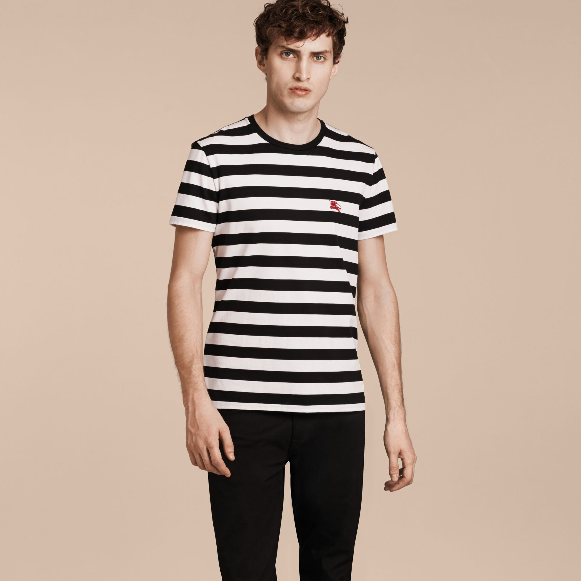 Black/white Striped Cotton T-Shirt Black/white - gallery image 6