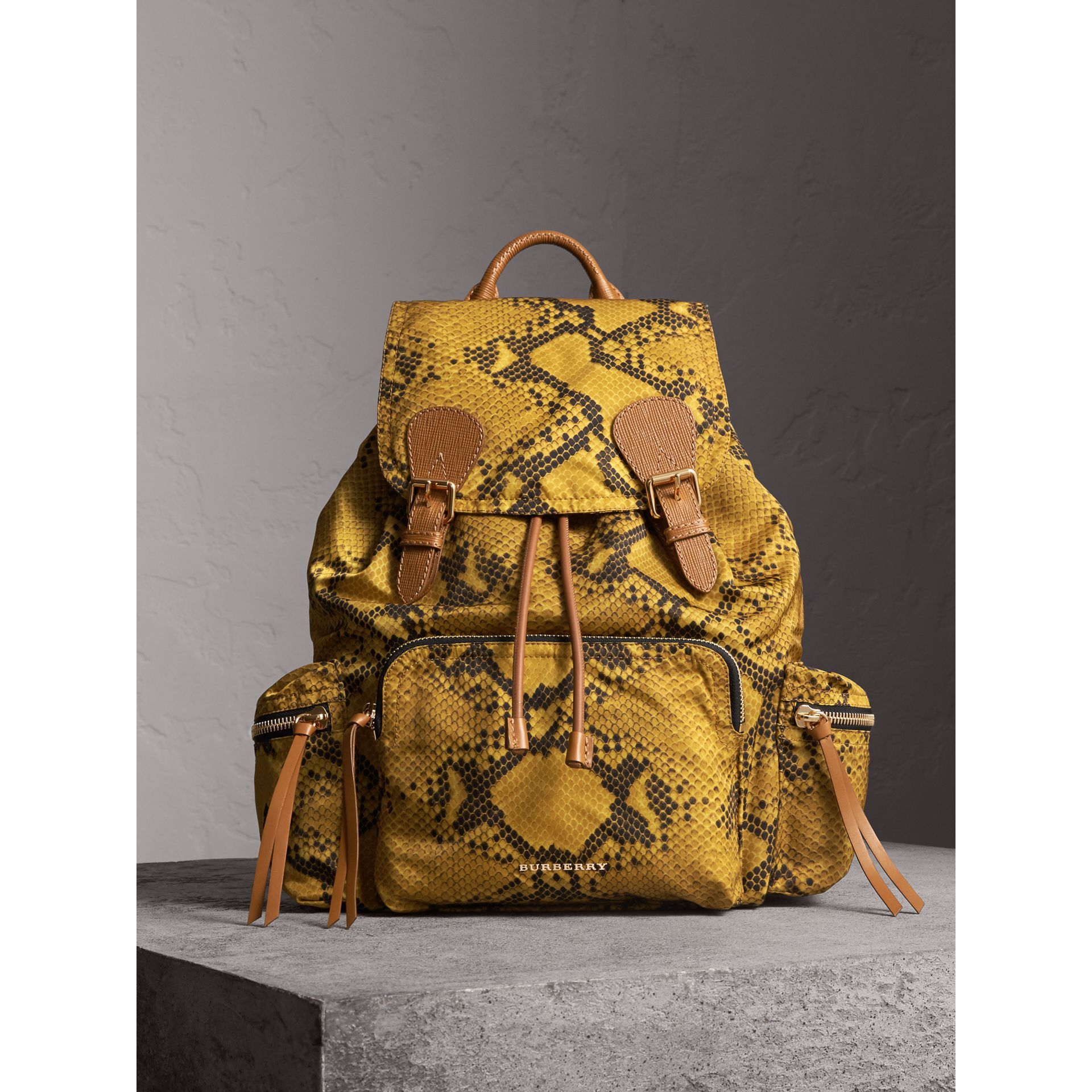 The Large Rucksack in Python Print Nylon and Leather in Yellow - Women | Burberry - gallery image 1
