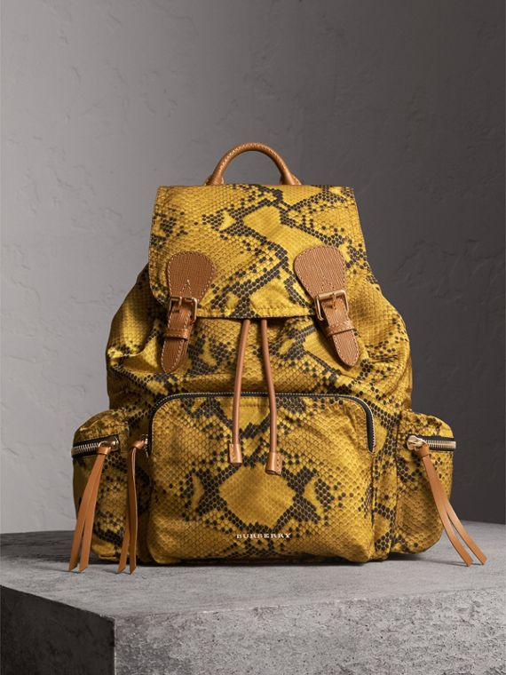 The Large Rucksack in Python Print Nylon and Leather in Yellow - Women | Burberry
