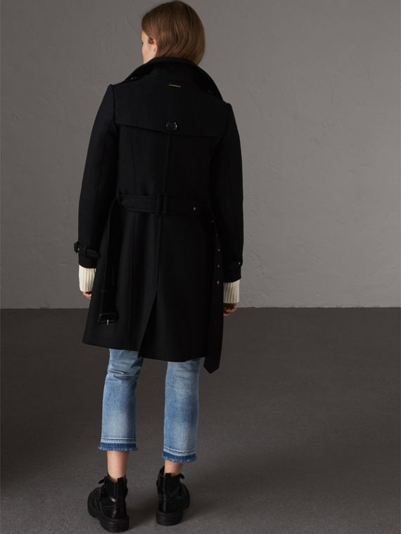 Technical Wool Cashmere Funnel Neck Coat in Black - Women | Burberry - cell image 2