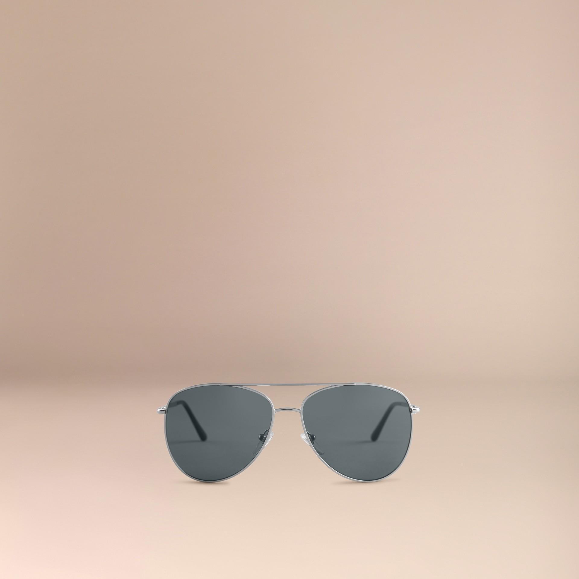 Silver Check Arm Aviator Sunglasses Silver - gallery image 3