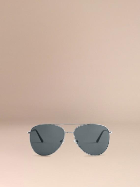 Silver Check Arm Aviator Sunglasses Silver - cell image 2