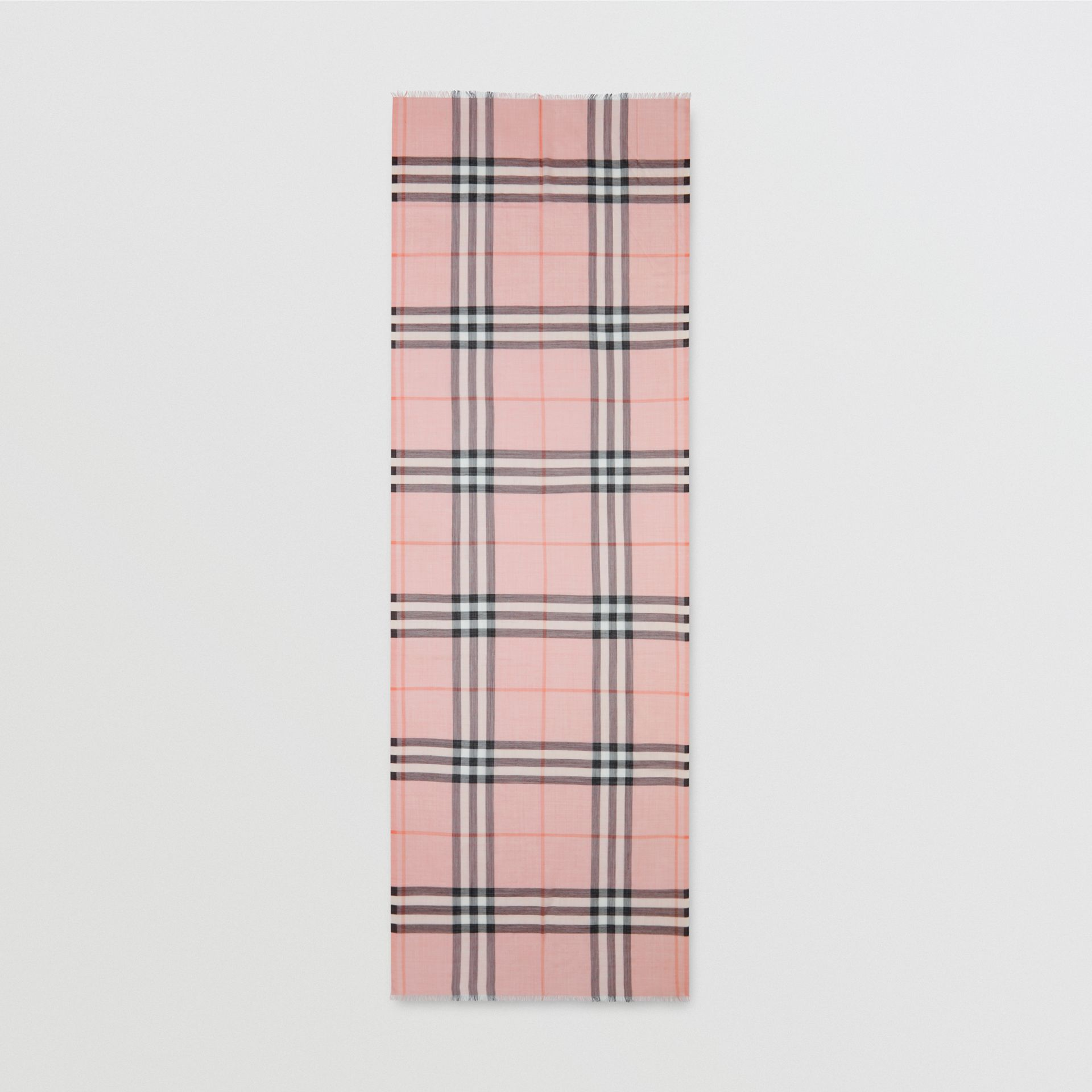 Lightweight Check Wool and Silk Scarf in Ash Rose | Burberry Canada - gallery image 3