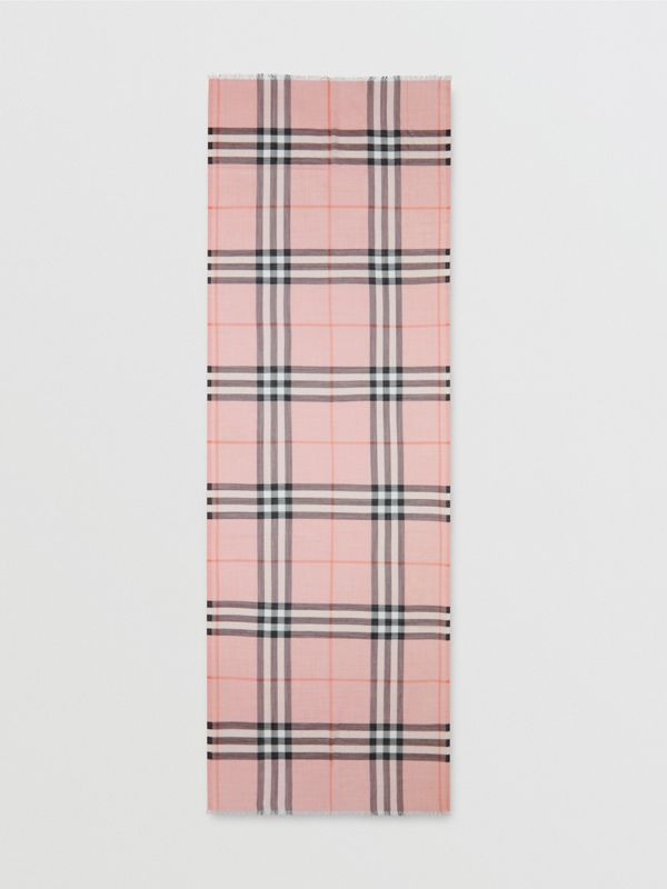 Lightweight Check Wool and Silk Scarf in Ash Rose | Burberry Canada - cell image 3
