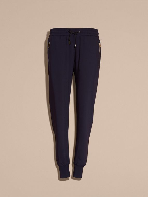 Zip Detail Jersey Sweat Pants Navy - cell image 3
