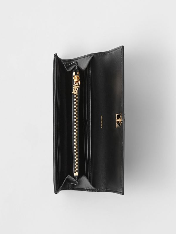 Monogram Motif Leather Continental Wallet in Black - Women | Burberry Australia - cell image 3
