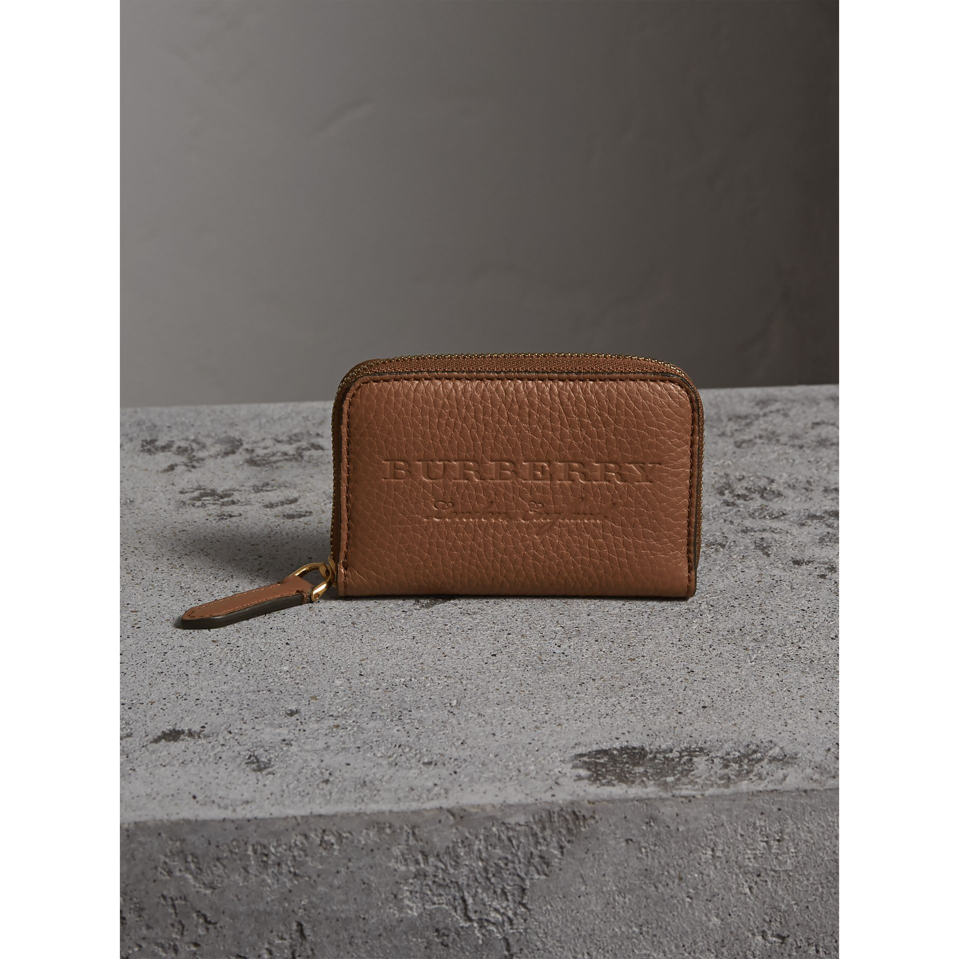 Textured Leather Ziparound Coin Case in Chestnut Brown - Men | Burberry - gallery image 5