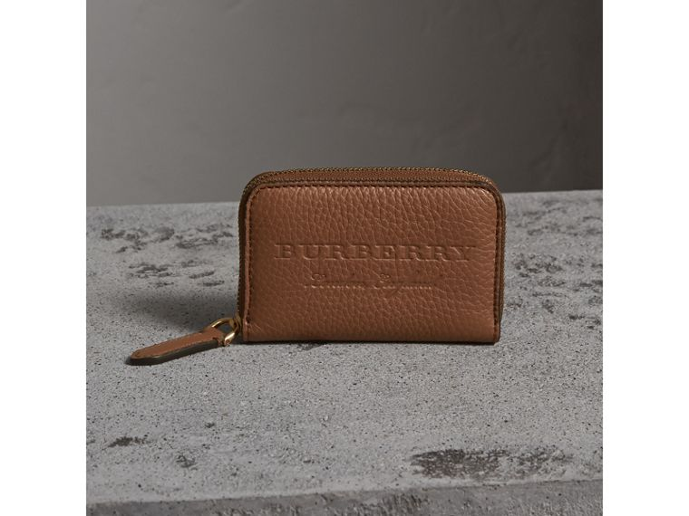 Textured Leather Ziparound Coin Case in Chestnut Brown - Men | Burberry - cell image 4