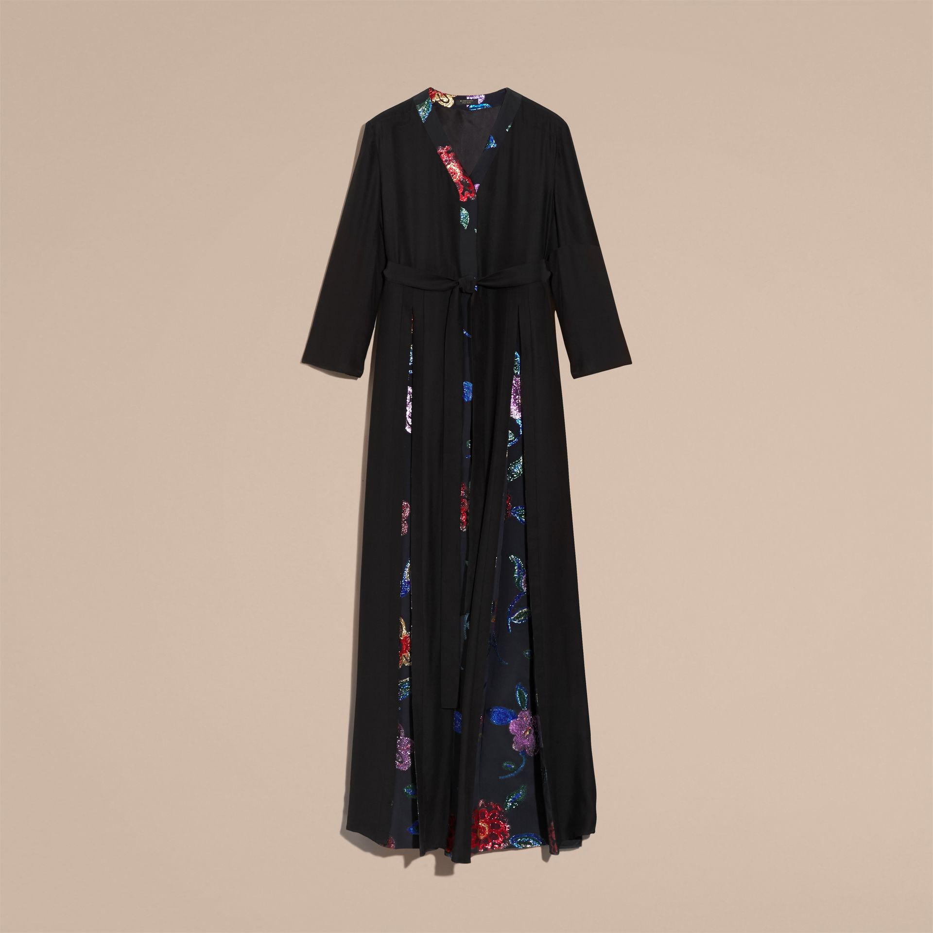 Black Floral Fil Coupé Trimmed Silk Wrap Gown - gallery image 4