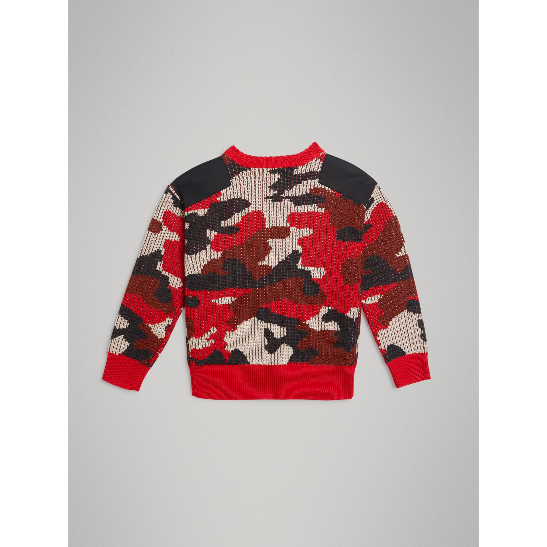 Camouflage Merino Wool Jacquard Sweater in Bright Red | Burberry - gallery image 3