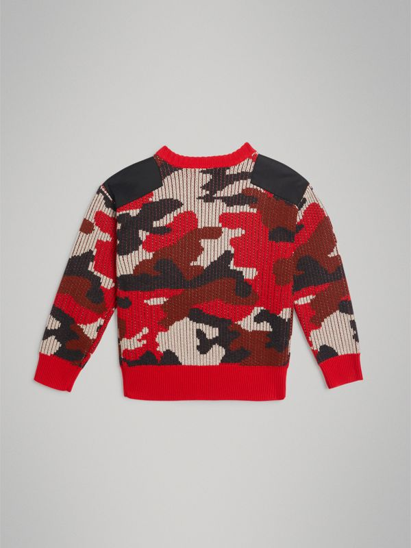 Camouflage Merino Wool Jacquard Sweater in Bright Red | Burberry - cell image 3