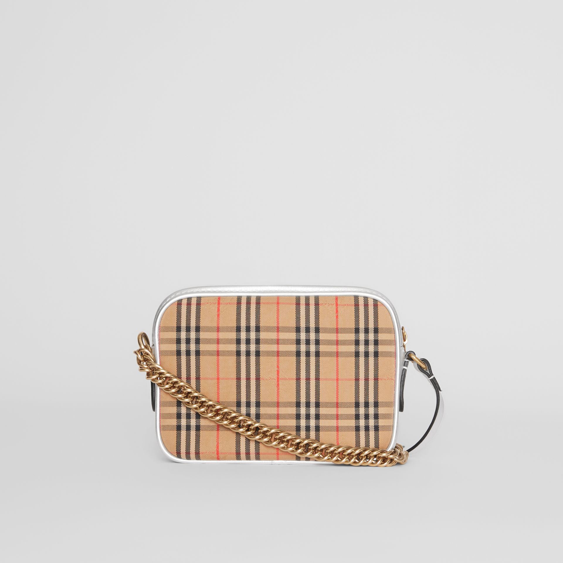 The 1983 Check Link Camera Bag in Silver - Women | Burberry Australia - gallery image 7