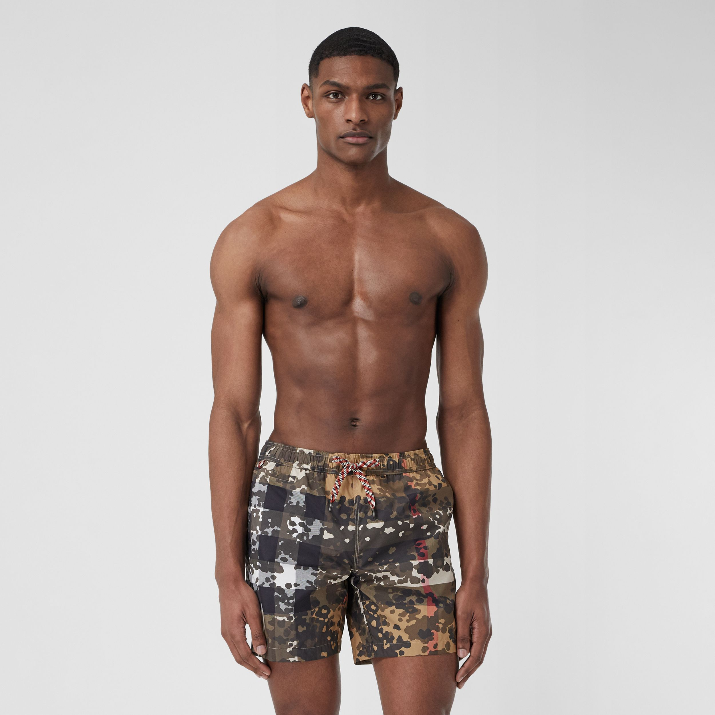 Camouflage Check Drawcord Swim Shorts in Archive Beige - Men | Burberry - 1