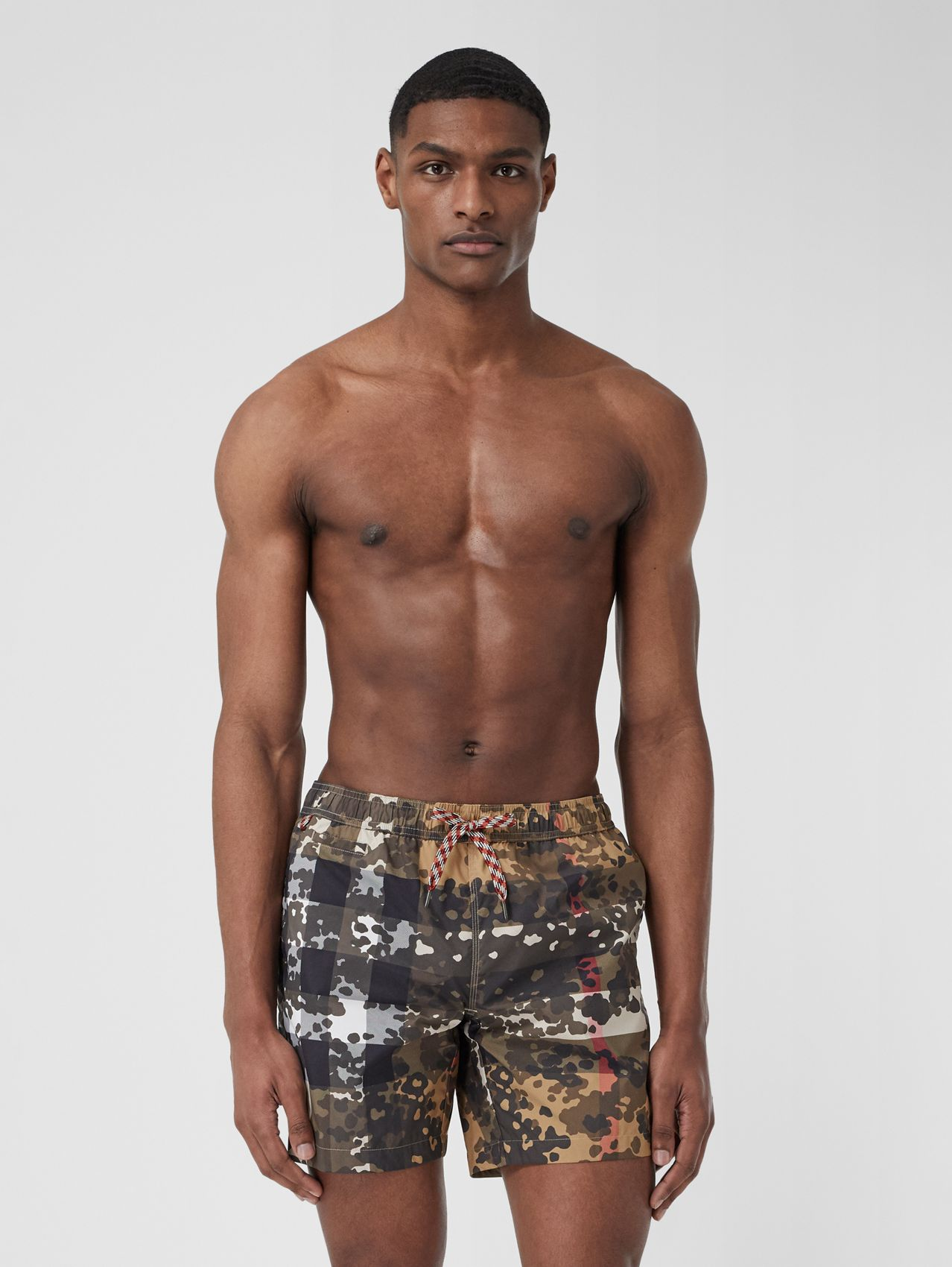 Camouflage Check Drawcord Swim Shorts in Archive Beige