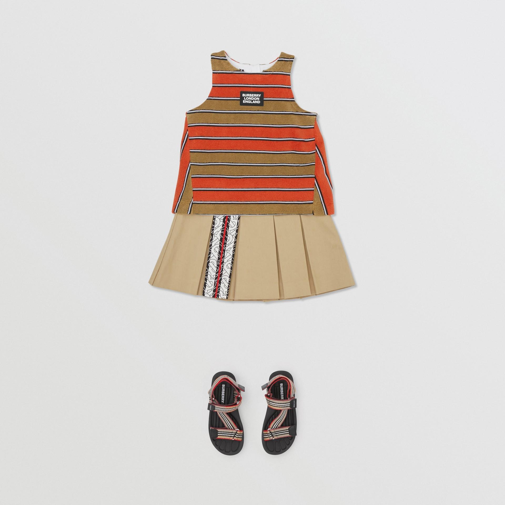 Monogram Stripe Print Box-pleated Cotton Skirt in Honey - Children | Burberry Australia - gallery image 2