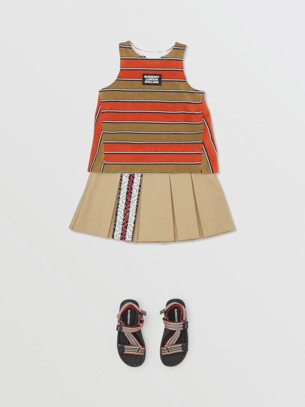 Monogram Stripe Print Box-pleated Cotton Skirt in Honey - Children | Burberry Australia - cell image 2