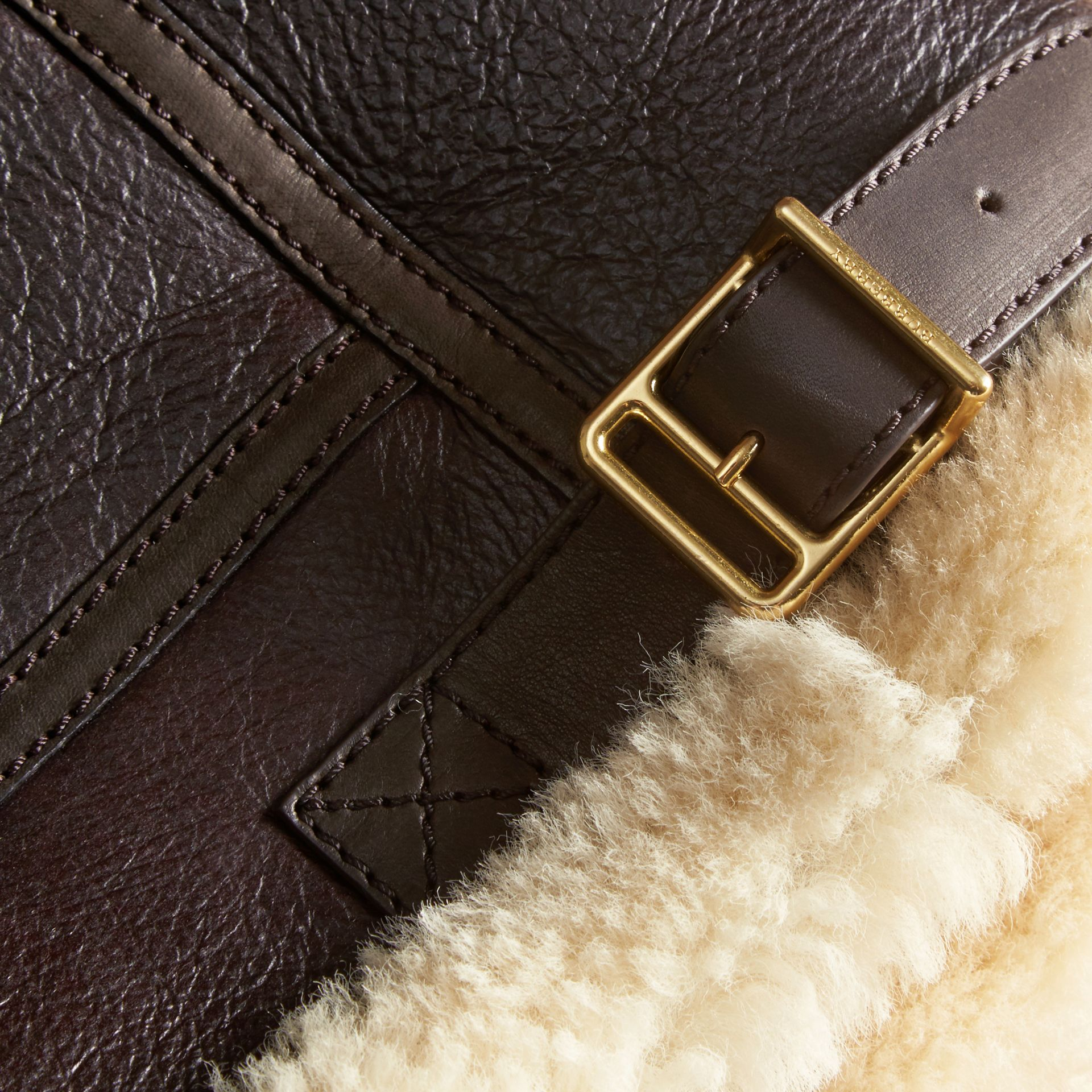 Dark cognac Shearling Aviator Jacket - gallery image 2
