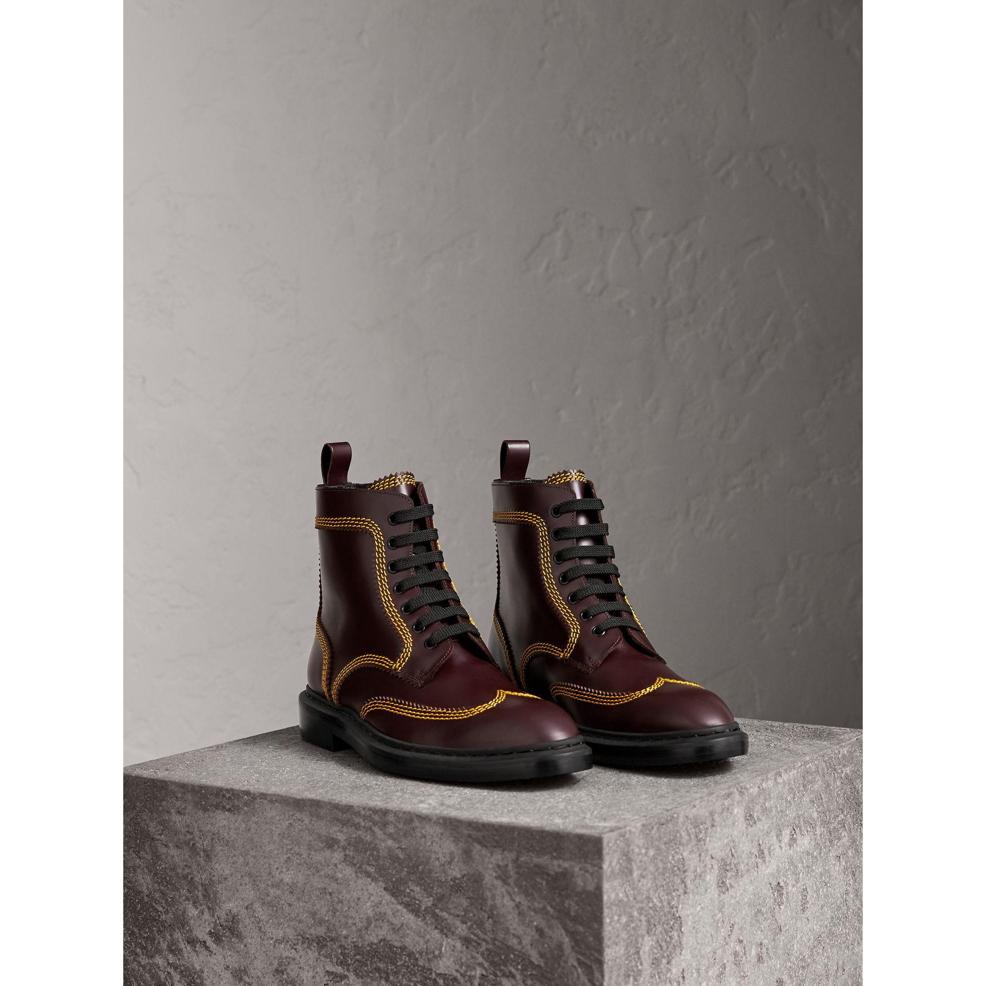Topstitched Leather Derby Boots in Bordeaux - Men | Burberry - gallery image 4