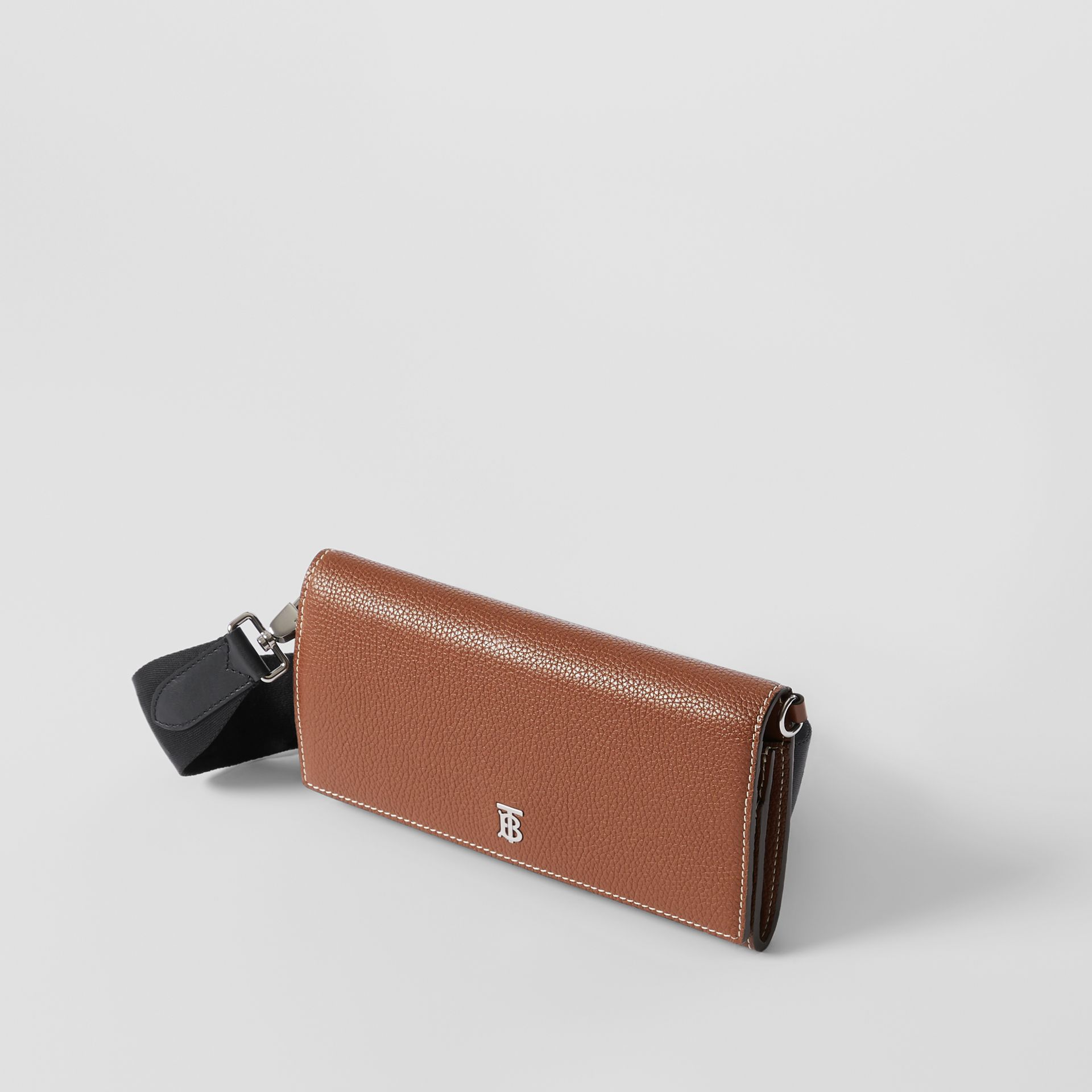 Grainy Leather Wallet with Detachable Strap in Tan | Burberry - gallery image 4