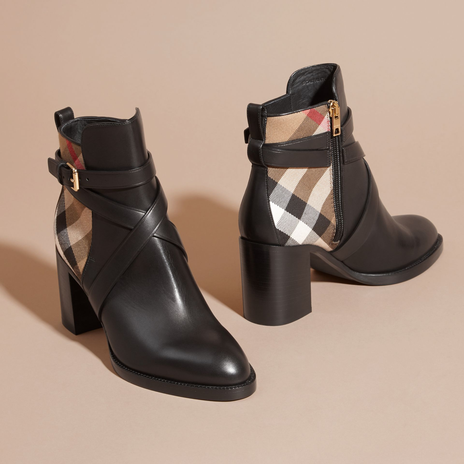 House Check and Leather Ankle Boots in Black - Women | Burberry Hong Kong - gallery image 2