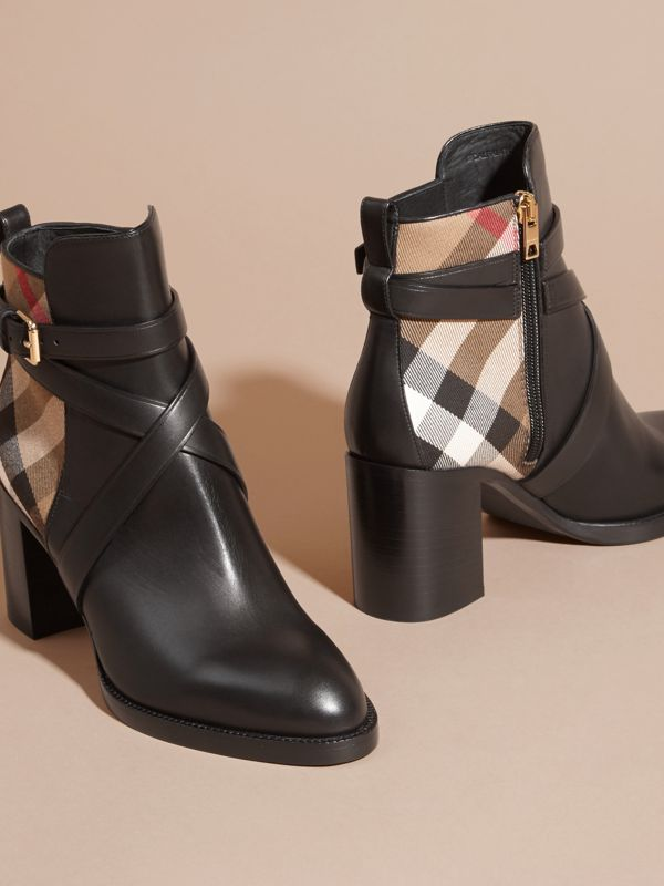 House Check and Leather Ankle Boots in Black - Women | Burberry - cell image 2