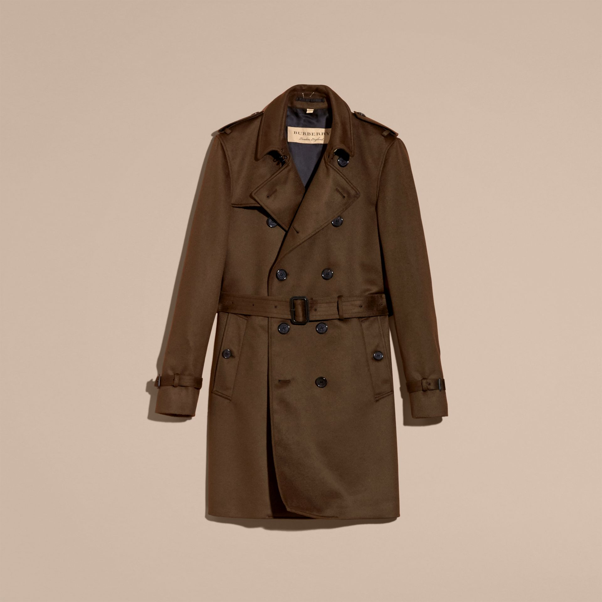 Dark military khaki Cashmere Trench Coat Dark Military Khaki - gallery image 4